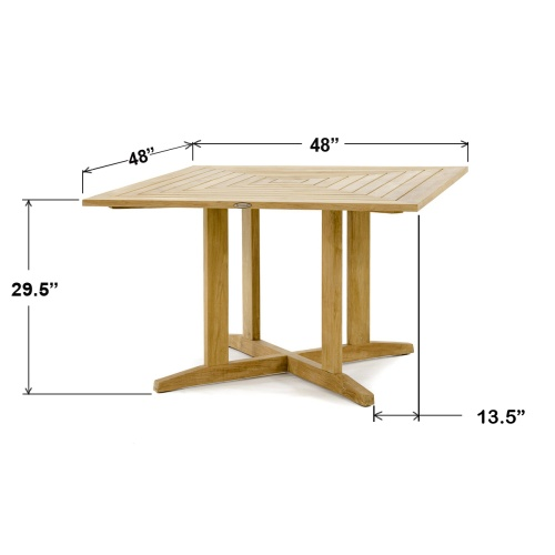 Pyramid 48in Square Teak Outdoor Dining Table - Picture H
