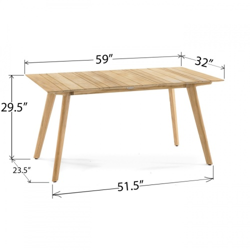 Surf Rectangular Teak Dining Table - Picture H