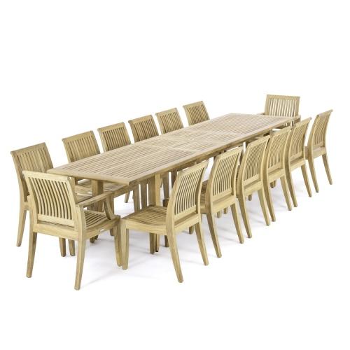 Laguna 11 ft Large Teak Extendable Table - Picture H