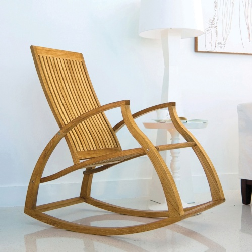 Contemporary Modern Teak Rocking Chair Picture A