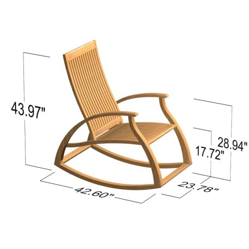 Contemporary Modern Teak Rocking Chair - Picture F