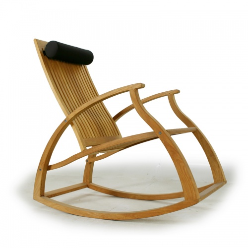 Contemporary Modern Teak Rocking Chair - Picture A