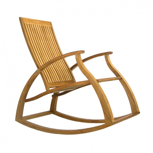 Contemporary Modern Teak Rocking Chair - Picture H