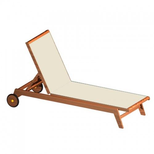 Teak Sunbrella Chaise Lounger - Picture A
