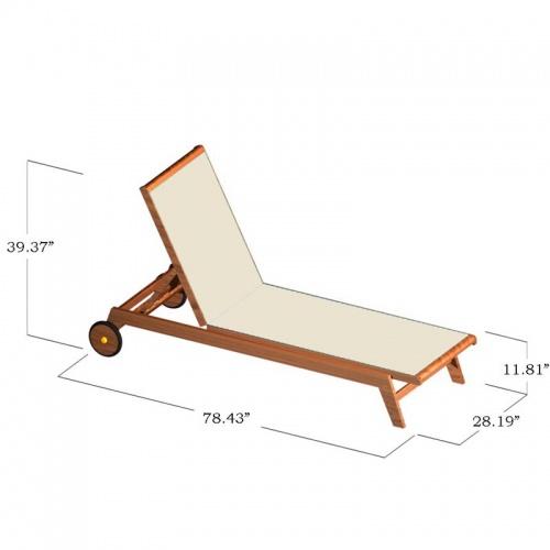 Teak Sunbrella Chaise Lounger - Picture E