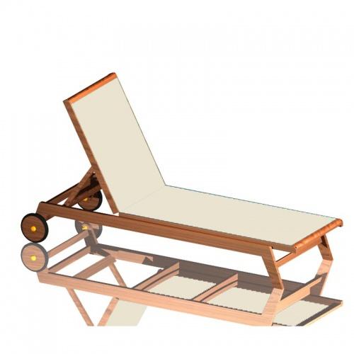 Teak Sunbrella Chaise Lounger - Picture F
