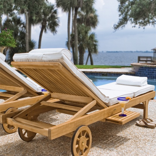 wooden teak chaise loungers