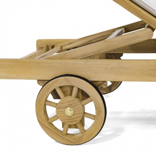 teak chaises with wheels