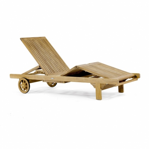 Teak Outdoor Chaise Lounger Refurbished - Picture A