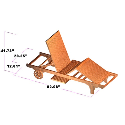Somerset Teak Chaise Lounger with Pullout Trays & Wheels - Picture J