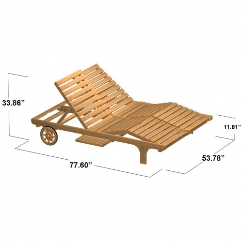 Double Teak Chaise Lounger - Picture C