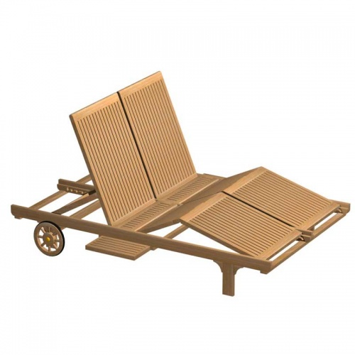 Double Teak Outdoor Chaise Lounger - Picture A