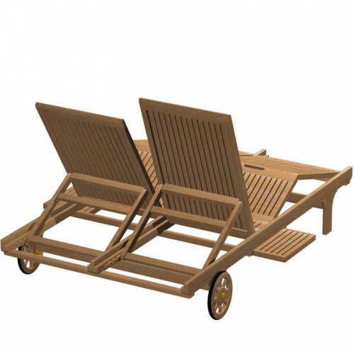 Double Teak Outdoor Chaise Lounger - Picture B