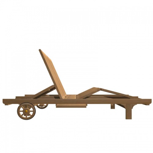 Double Teak Outdoor Chaise Lounger - Picture C