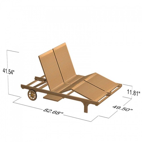 Double Teak Outdoor Chaise Lounger - Picture F