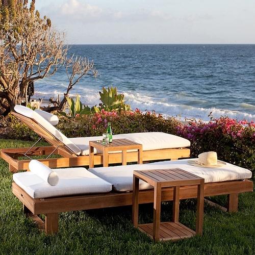 Horizon Teak Chaise Lounger with Sunbrella Cushion - Picture B