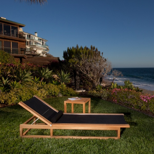 Maya Teak Frame Chaise Sling Lounger - Picture A