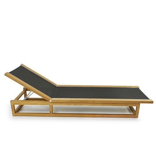 Maya Teak Frame Chaise Sling Lounger - Picture B