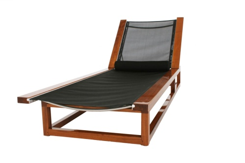Maya Teak Frame Chaise Sling Lounger - Picture C