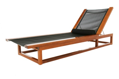Maya Teak Frame Chaise Sling Lounger - Picture D