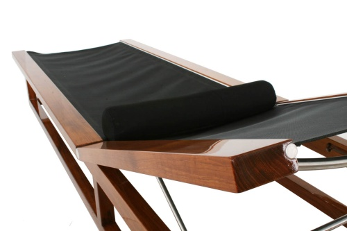 Maya Teak Frame Chaise Sling Lounger - Picture F