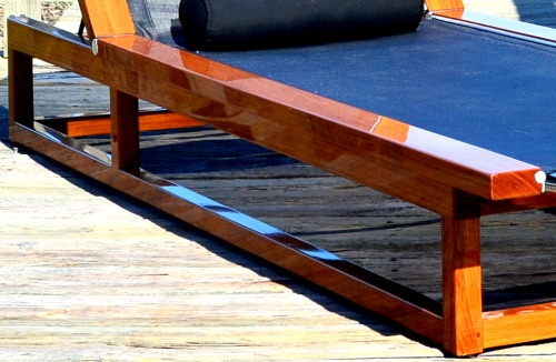 adjustable teak pool lounger
