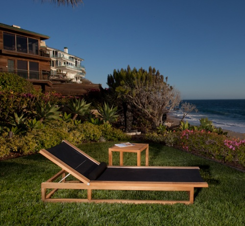 Maya Teak Frame Chaise Sling Textilene Lounger - Picture A