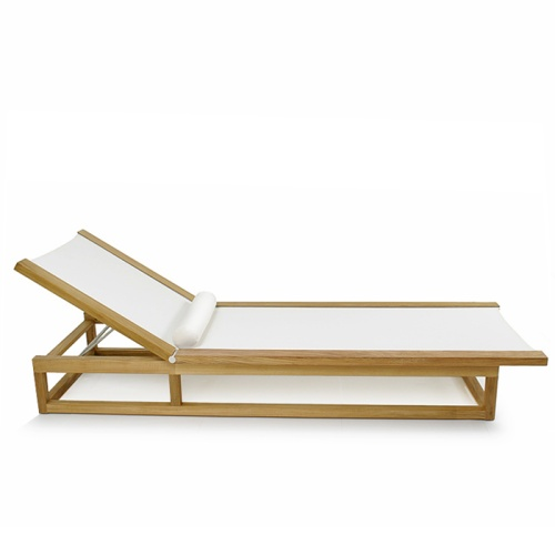 Maya Teak Frame Chaise Sling Pool Lounger - Picture A
