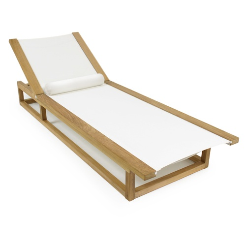 Maya Teak Frame Chaise Sling Pool Lounger - Picture B