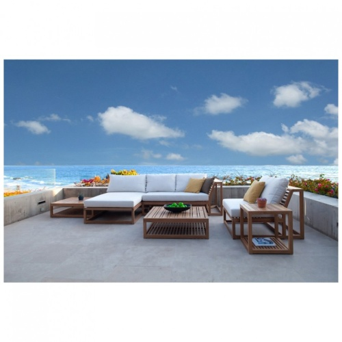 Maya Teak Outdoor Premium Daybed with Sunbrella - Picture B