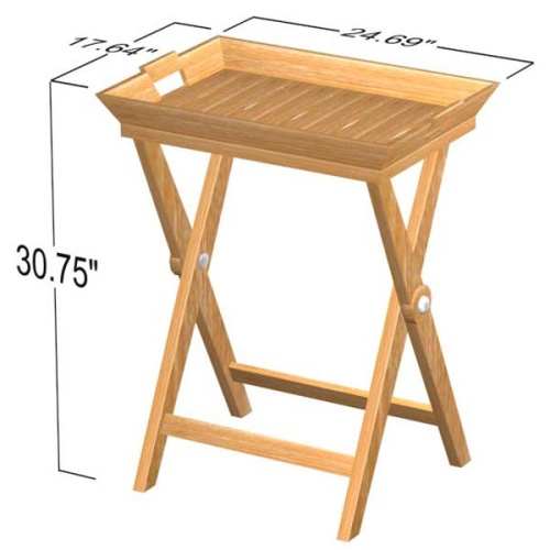 Folding Teak Tray Table - Picture K
