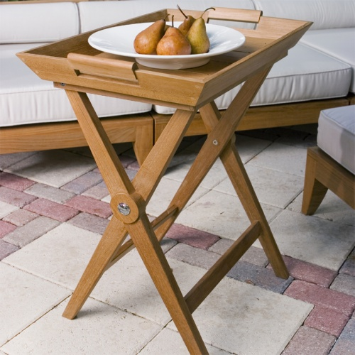teak serving trays with stands