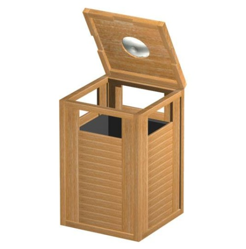 Teak trash can - Picture A