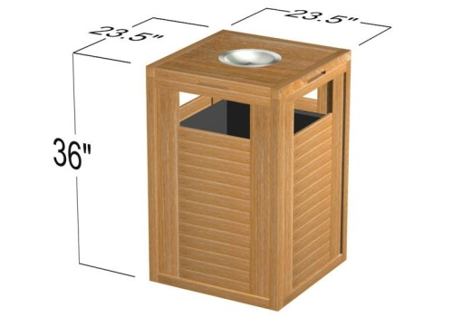Teak trash can - Picture B