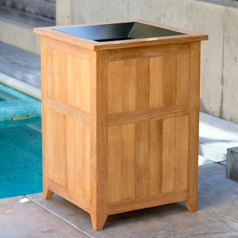 wooden trash receptacles