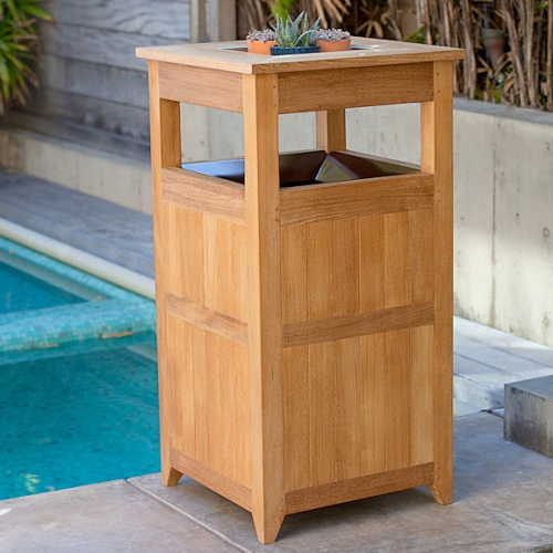 Teak Trash Receptacle, Laundry Hamper - Picture A