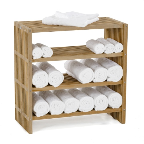 teak bathroom towel shelf