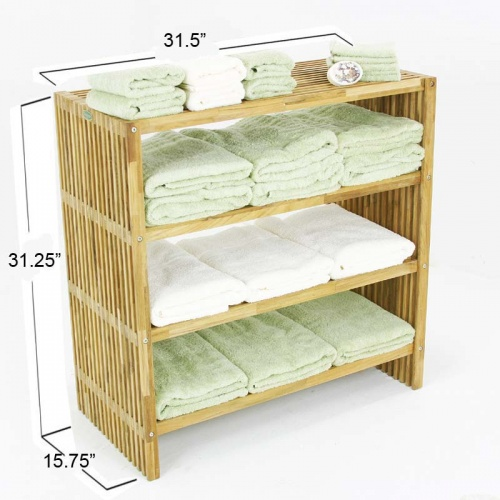 Westminster Teak Wood Waterproof Towel Shelf - Picture C