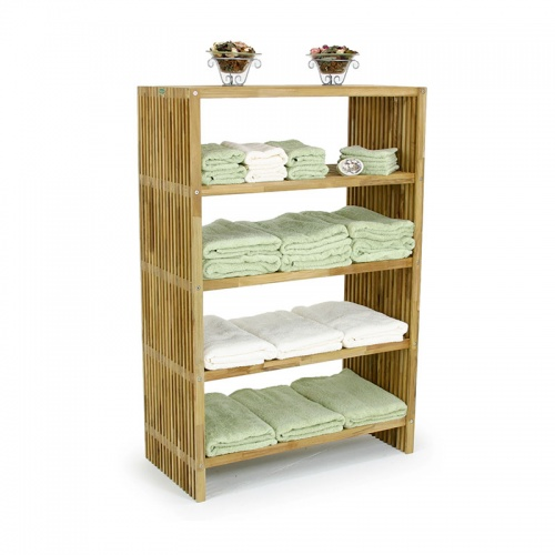 indoor teak storage shelf