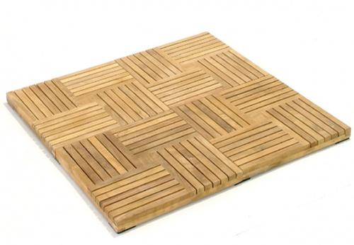 Parquet  Wood Deck Teak Bath Mat - Picture B