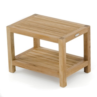 Teak Shower Bench w/ Shelf