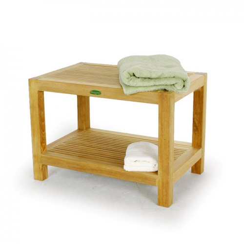 Westminster Teak Waterproof Spa Stool with Shelf - Picture A