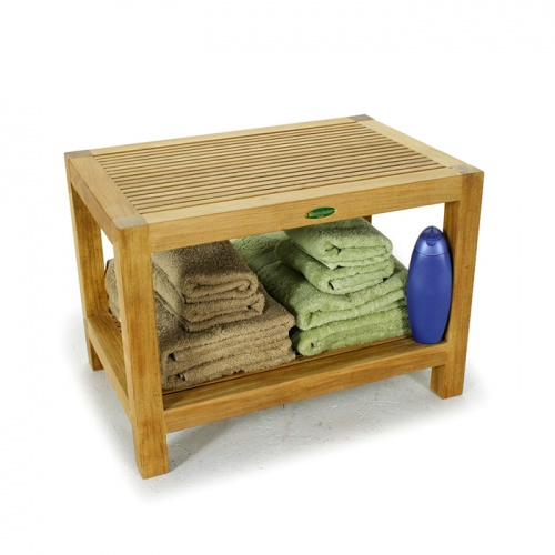 Westminster Teak Waterproof Spa Stool with Shelf - Picture B