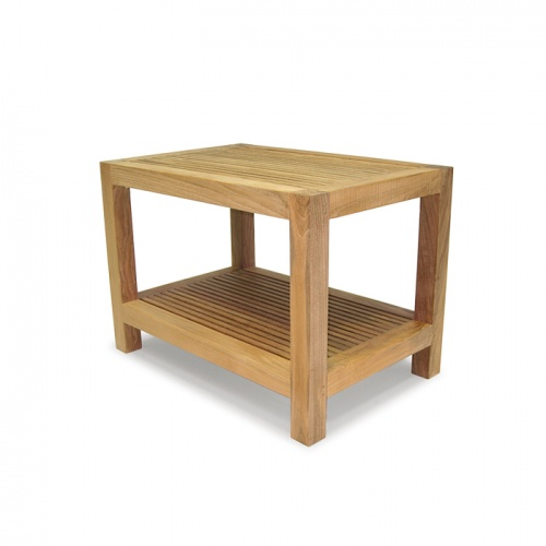 Westminster Teak Waterproof Spa Stool with Shelf - Picture C