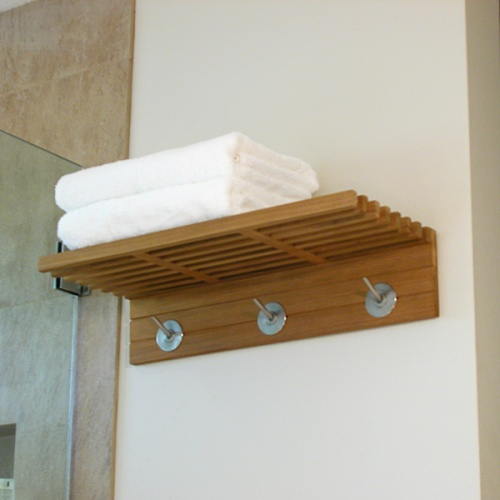 teak bathroom towel shelf