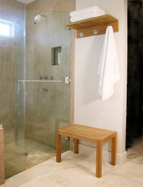 bathroom teak towel shelf