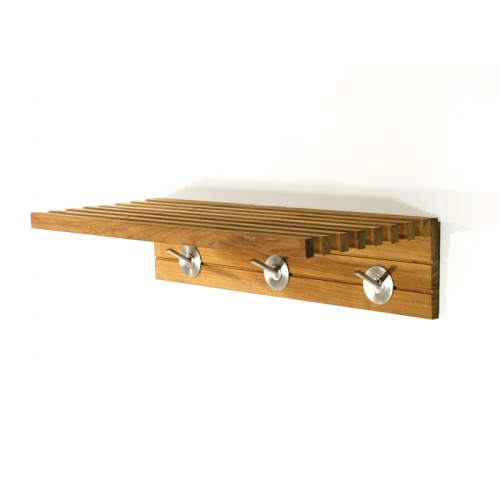 Refurbished 24 in Teak Towel Shelf with Hooks - Picture A