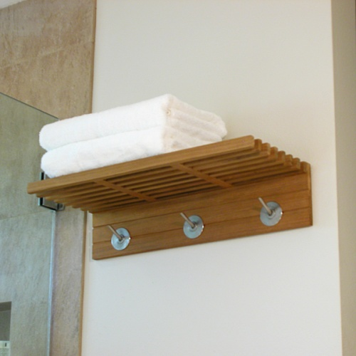 Refurbished 24 in Teak Towel Shelf with Hooks - Picture B