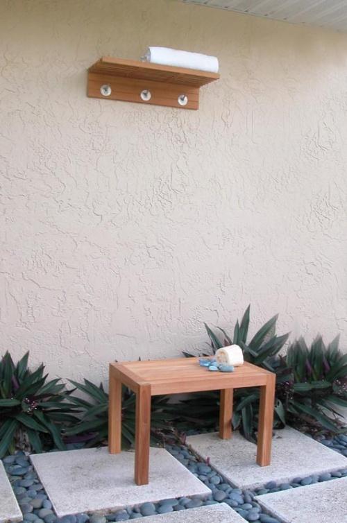 Wall Mounted Teak Shelf  Coat and Towel Rack - Picture E