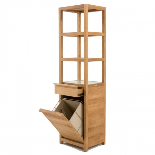 Pacifica Teak Laundry Hamper and Shelf - Picture A